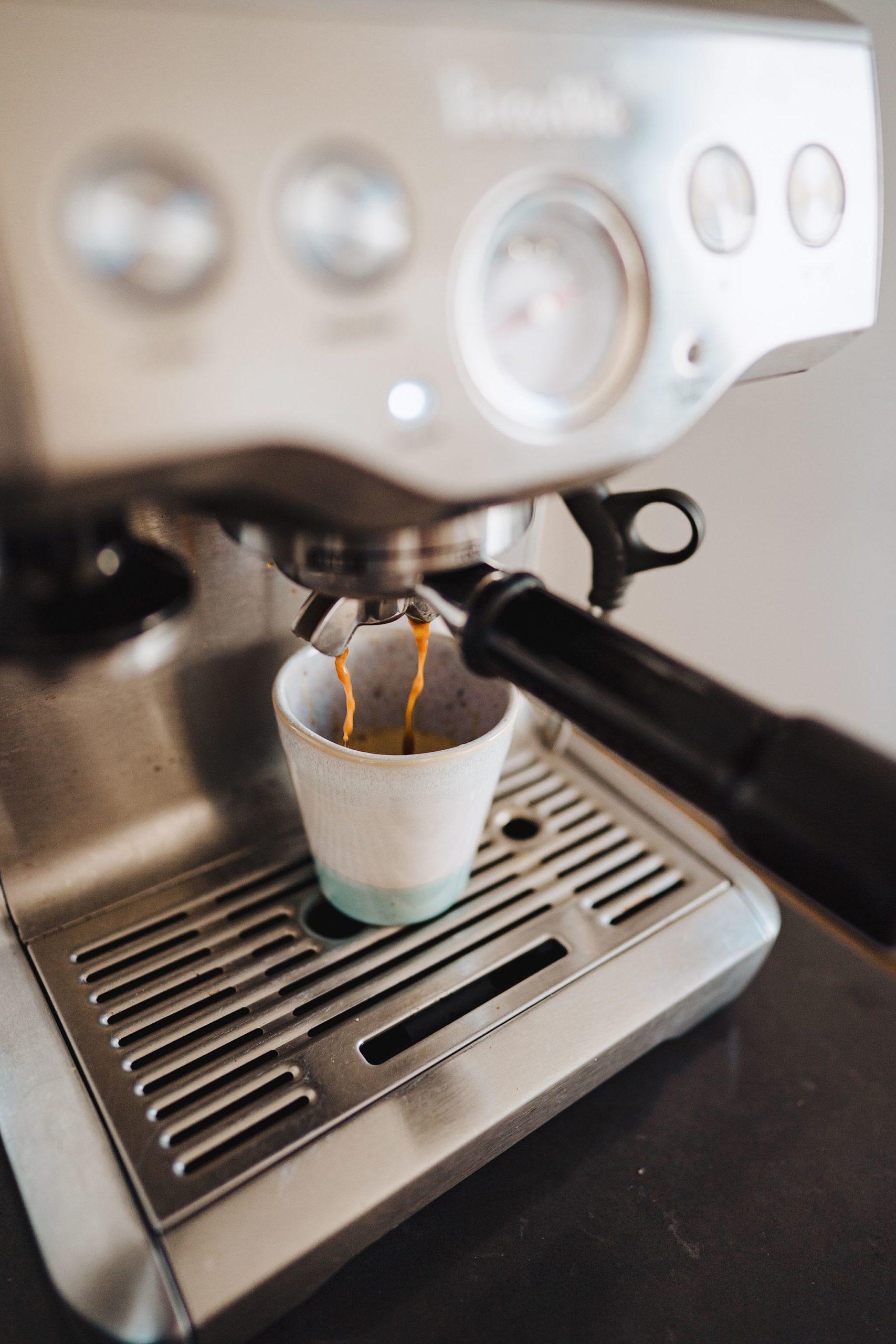 coffee in an espresso machine