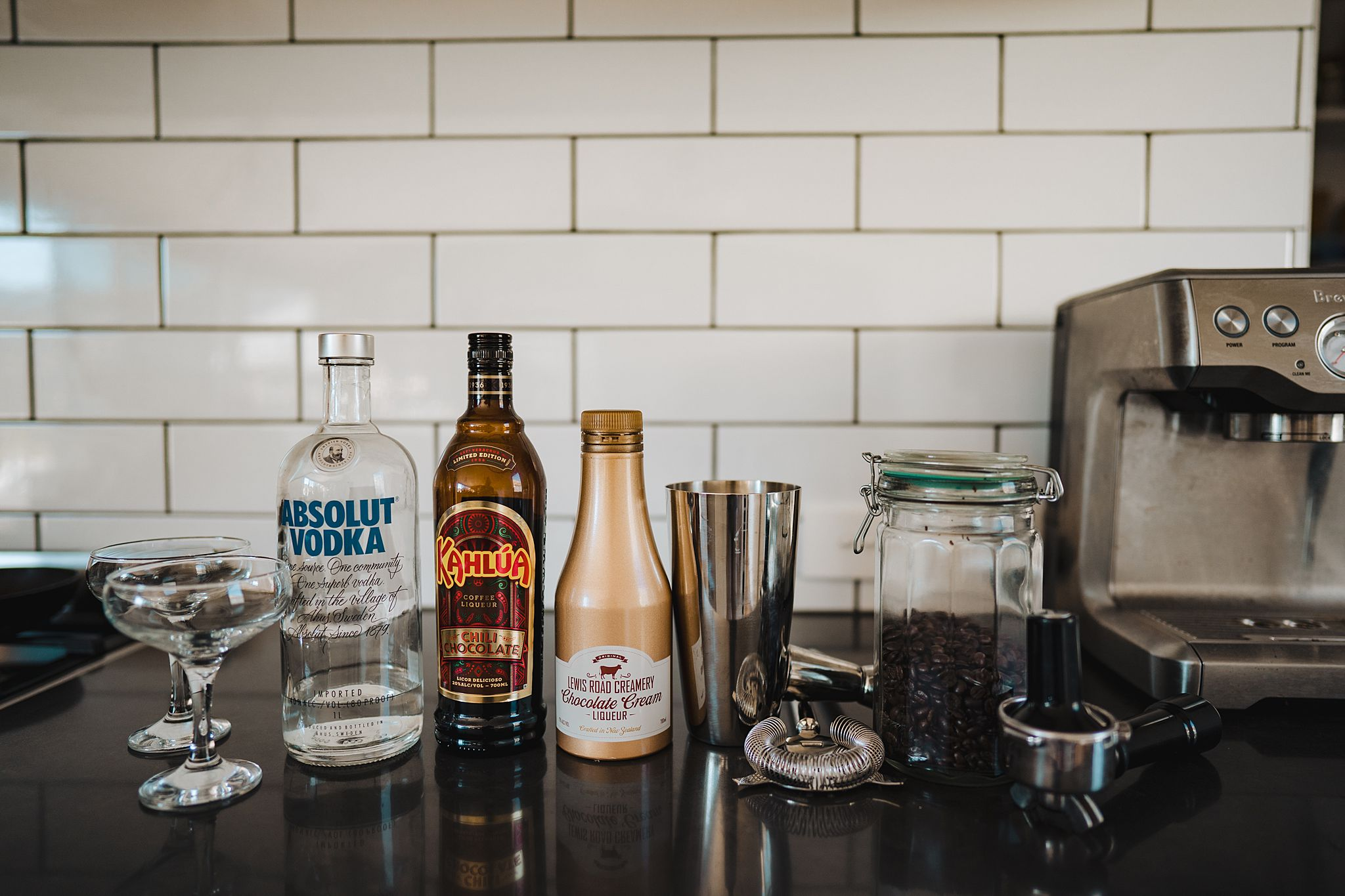 ingredients for espresso martini cocktail