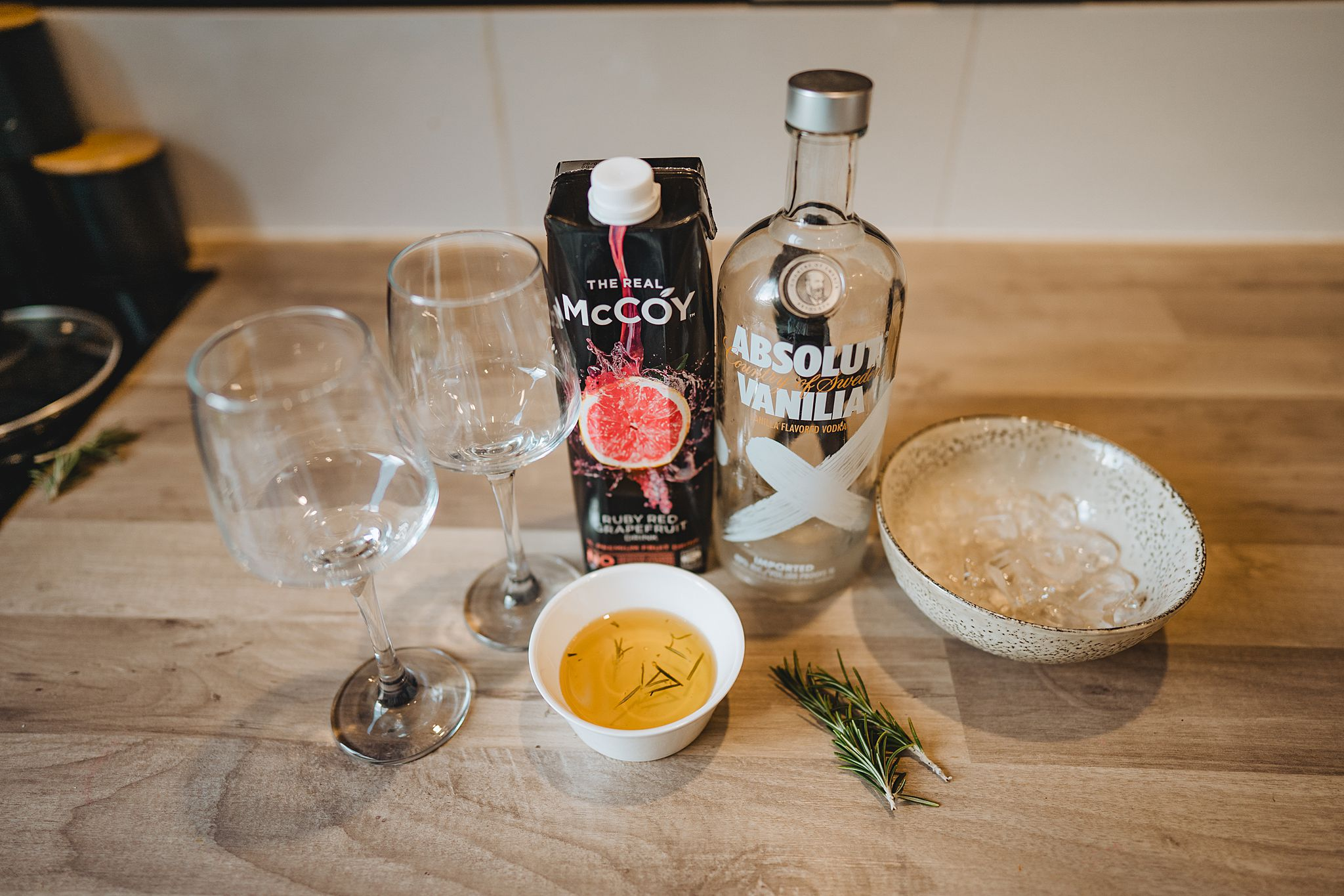 Ingredients for vodka grapefruit and rosemary cocktail