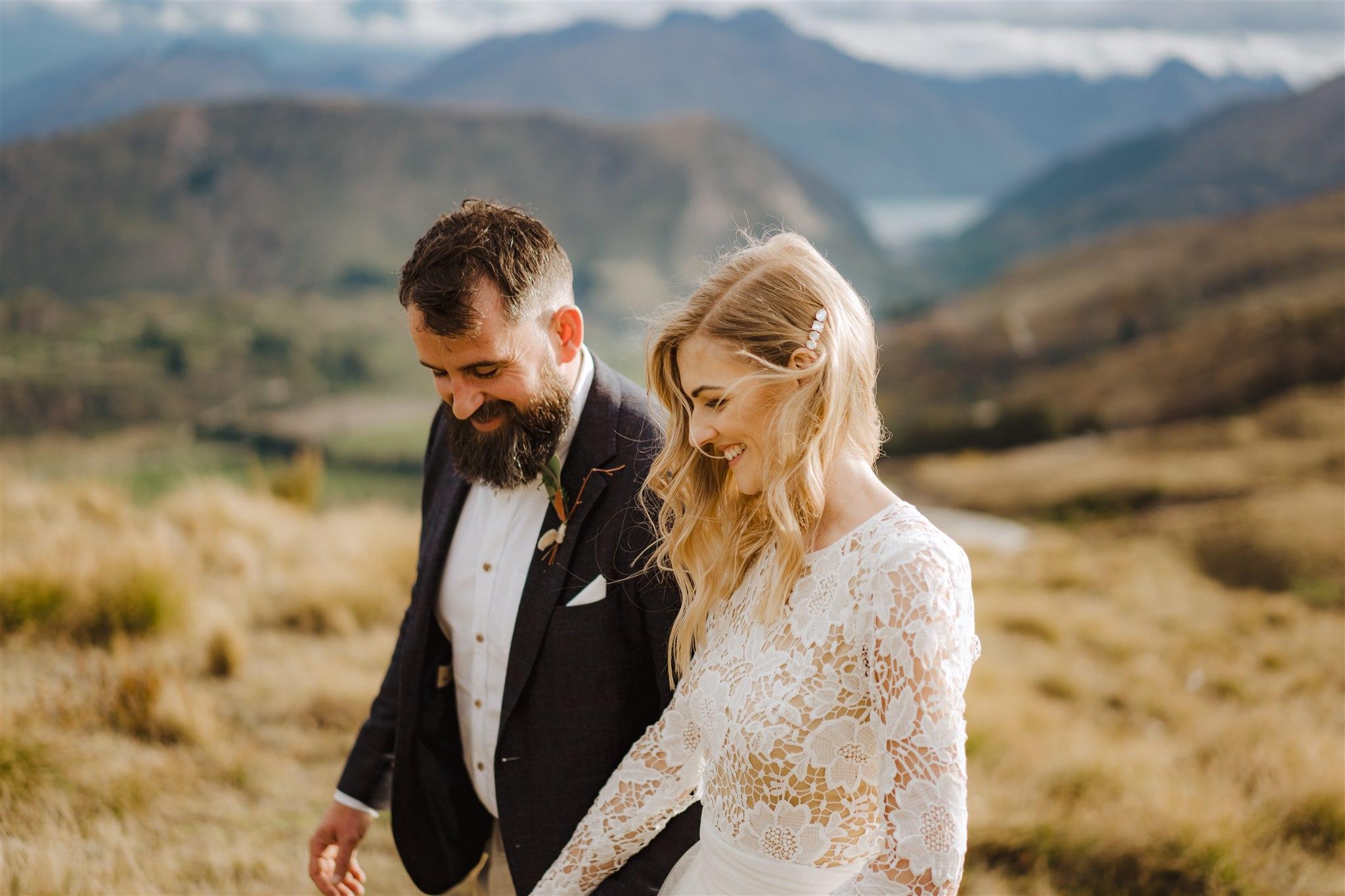 bride and groom at coronet peak in Queenstown New Zealand